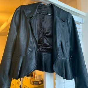 BCBG leather flutter jacket.